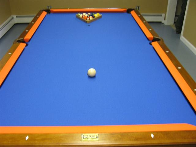 Past Jobs Independent Billiard Services Has Done - Electric blue pool table